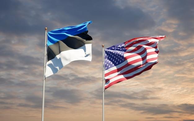 Belle bandiere nazionali dello stato di usa ed estonia insieme