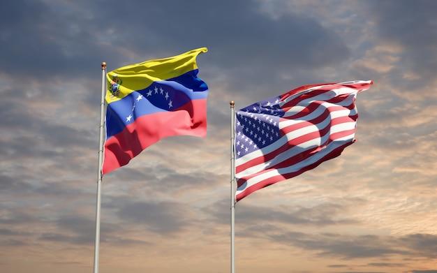 Belle bandiere di stato nazionali del venezuela e degli stati uniti insieme