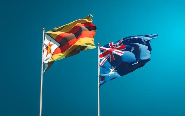 Belle bandiere di stato nazionali dello zimbabwe e dell'australia insieme