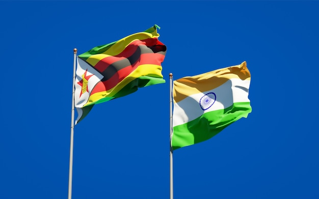 Belle bandiere di stato nazionali dello zimbabwe e dell'india insieme