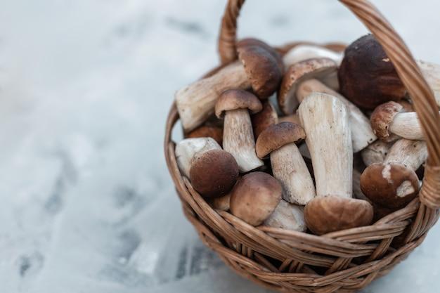 Bellissimi funghi naturali della foresta in un cesto di vimini su sfondo grigio
