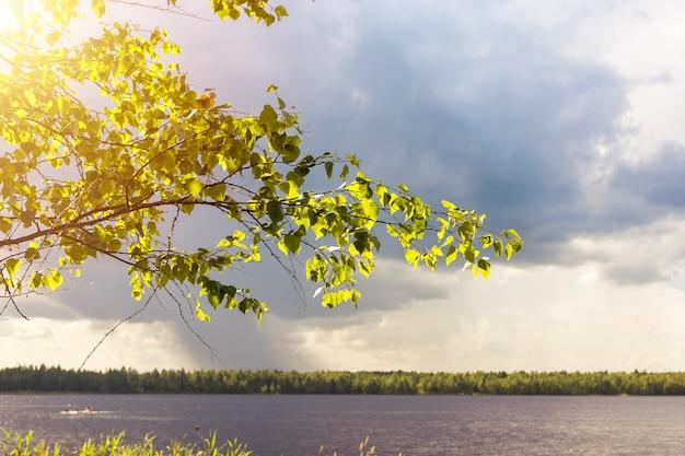 Bellissimo paesaggio naturale del tempo che cambia da soleggiato a piovoso con nuvole di pioggia e sole che splende sull'orizzonte e sul lago.