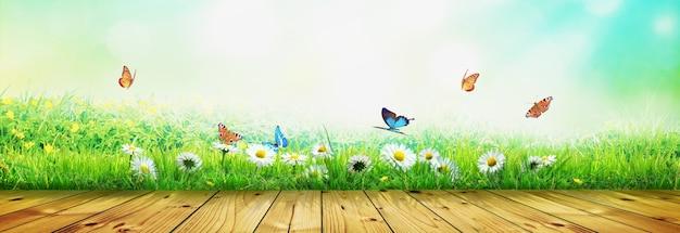 Bella vista della natura della farfalla su fondo di legno.