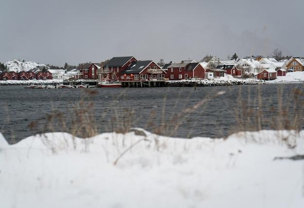 Bellissime lofoten scandinave settentrionali in inverno