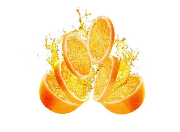 Bella fetta d'arancia che spruzza