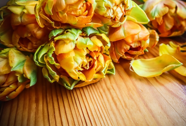 Bellissimi tulipani arancioni su un tavolo di legno perfetti per biglietti di auguri di sfondo