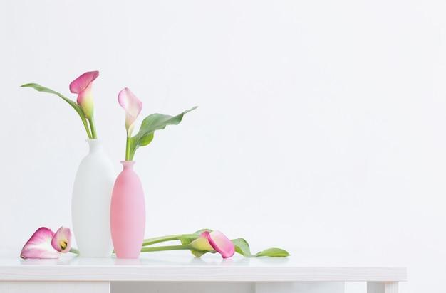 Bellissimi fiori rosa in vasi sulla superficie bianca