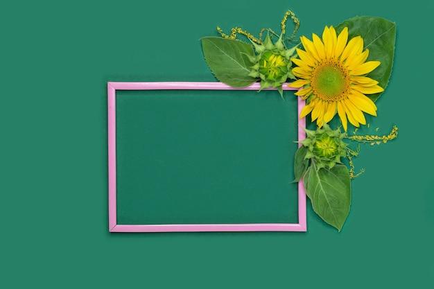 Bella cornice rosa con fiori e posto vuoto su sfondo verde
