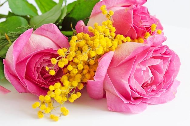 Mazzo di belle rose rosa isolato su sfondo bianco, primo piano