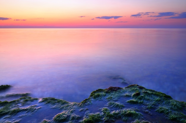 Bel tramonto rosa e pietre d'acqua