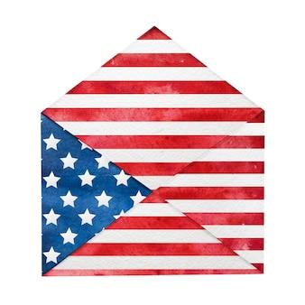Bellissima busta postale dipinta con i colori nazionali della bandiera americana.