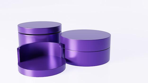 Un bellissimo espositore per presentazione dal design geometrico di pallet viola per pubblicità commerciale di prodotti