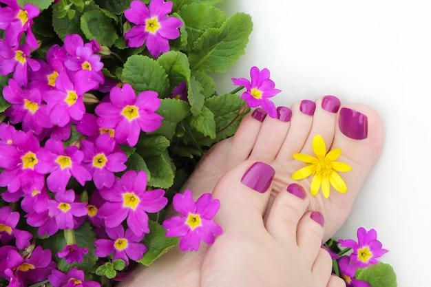 Bella pedicure viola sui piedi delle donne con fiori su sfondo bianco.