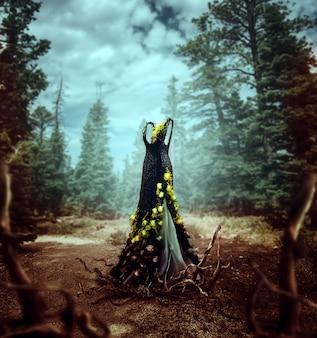 Bellissimo abito in rattan decorato con fiori gialli e radici di alberi, pineta sullo sfondo