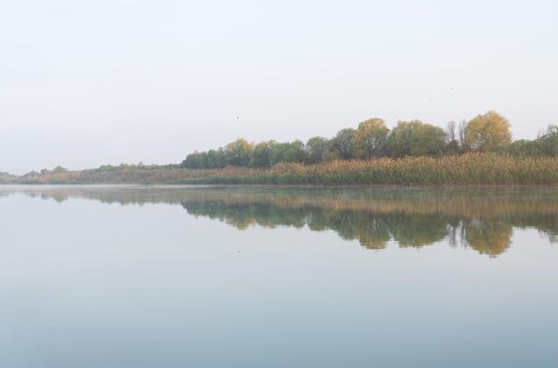 Bellissimi riflessi su un fiume molto piatto all'alba