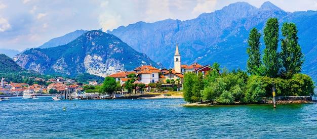 Bellissimo lago romanico lago maggiore - isola dei pescatori. italia, lombardia