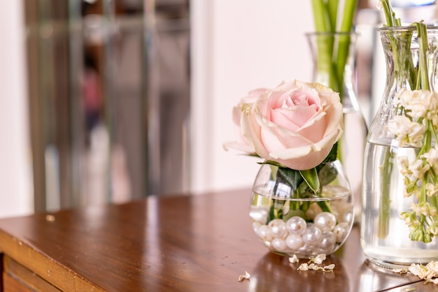 Bellissimo fiore rosa in vaso