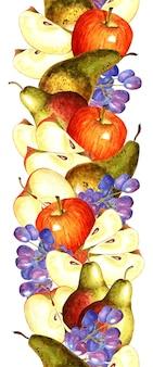 Bellissimo motivo verticale senza soluzione di continuità con frutti ad acquerello mele pere e uva isolati su bianco