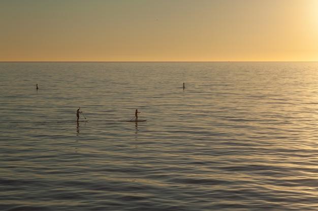 Bellissimo scatto di paddle boarder che fanno surf sull'acqua al tramonto