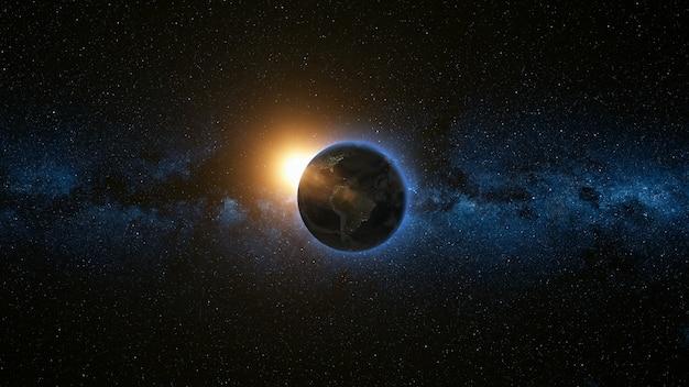 Bella vista dello spazio del pianeta terra e sole
