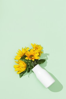 Bellissimi girasoli in vaso bianco su carta color menta.