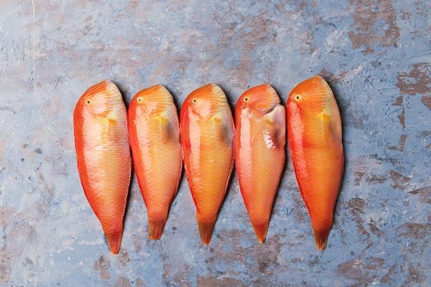 Bello pesce tropicale del mar rosso razorfish madreperlaceo su un fondo blu. xyrichtys novacula, frutti di mare del mar mediterraneo.
