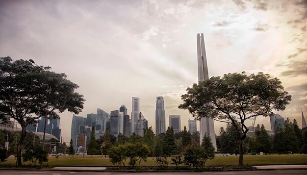 Bella vista della città di singapore, alberi verdi, grattacieli, parco