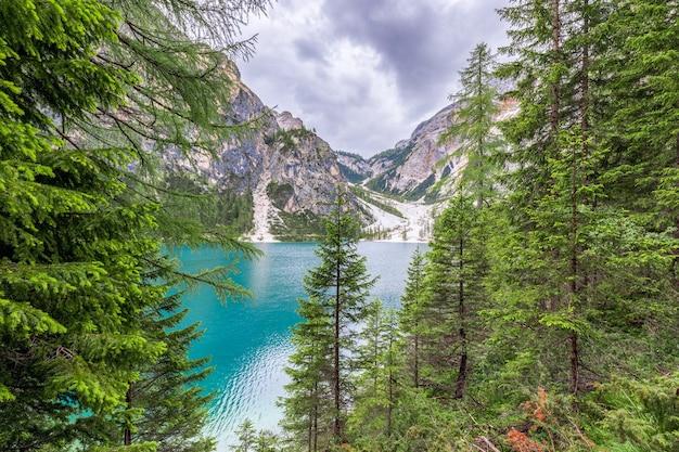 Bella vista attraverso la foresta al lago di braies nelle alpi italiane