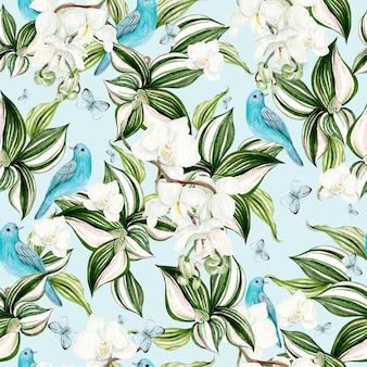 Bella carta acquerello con fiori di orchidea e cornice di uccello blu su sfondo azzurro