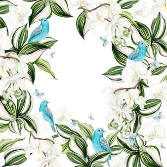 Bella carta acquerello con fiori di orchidea e cornice di uccelli blu su sfondo bianco