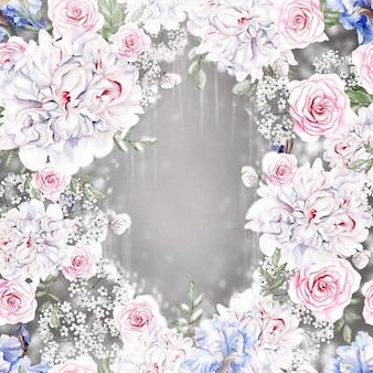 Bella carta acquerello con rose e fiori di iris illustrazione