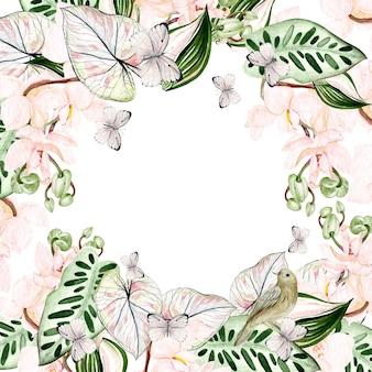 Bella carta acquerello con foglie tropicali, fiori di orchidee, uccelli e farfalle. illustrazione
