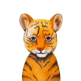 Bellissimo disegno ad acquerello di un piccolo cucciolo di tigre. preparazione per le vacanze. primo piano, niente persone. congratulazioni per i propri cari, parenti, amici e colleghi