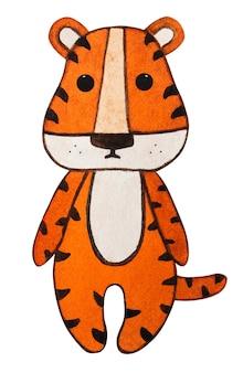 Bellissimo disegno ad acquerello di un cucciolo di tigre