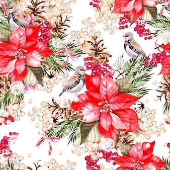 Bellissimo motivo floreale ad acquerello con uccelli, poinsettia e snowberry