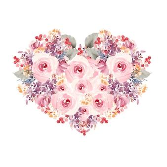 Bellissimo cuore dell'acquerello con fiori rosa e bacche