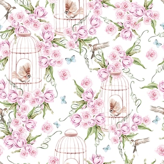 Bellissimo motivo ad acquerello con uccelli e fiori e gabbia per uccelli illustrazione