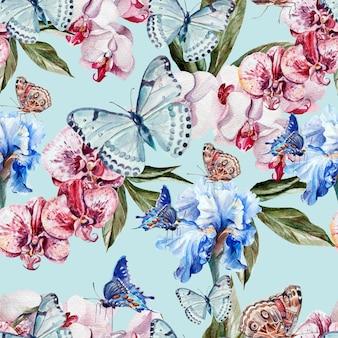 Bellissimo motivo ad acquerello con farfalle e fiori di orchidea e iris. illustrazione
