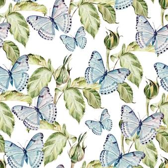 Bellissimo motivo ad acquerello con farfalle e piante. illustrazione