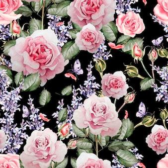 Bellissimo motivo ad acquerello con i colori della lavanda e delle rose. illustrazione.