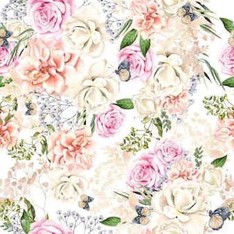 Bellissimo motivo ad acquerello con fiori