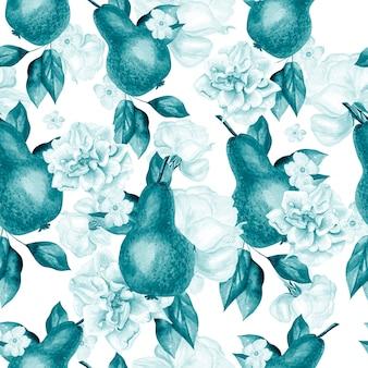 Bellissimo motivo ad acquerello con pere e fiori di rose e peonie illustrazione