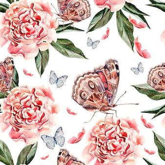 Bellissimo motivo ad acquerello con fiori di peonia, farfalle e piante. illustrazione