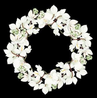 Bella cornice rotonda acquerello con fiori di orchidea su sfondo nero