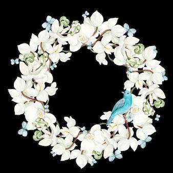 Bella cornice rotonda acquerello con fiori di orchidea e uccello blu su sfondo nero