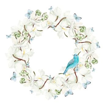 Bella cornice rotonda acquerello con fiori di orchidea e uccello blu su sfondo bianco