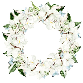 Bella cornice rotonda acquerello con fiori di orchidea su sfondo bianco