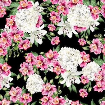 Bellissimo reticolo senza giunte dell'acquerello con fiori di alstroemeria, hudrangea e giglio. illustrazione