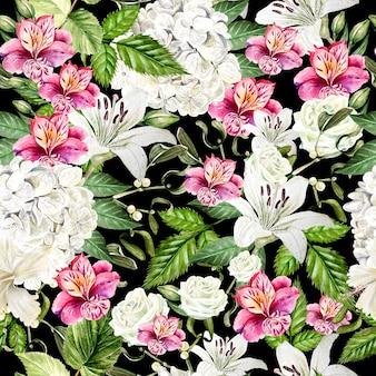 Bello reticolo senza giunte dell'acquerello con fiori di alstroemeria, hudrangea, giglio e rosa. illustrazione