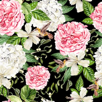 Bello reticolo senza giunte dell'acquerello con fiori di hudrangea, ibisco e peonia, colibrì. illustrazione